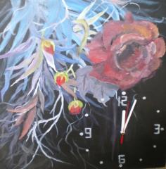 Ruža v čiernom - obraz s hodinami