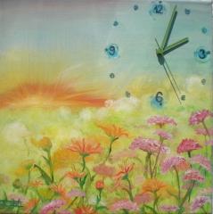 Maľovaný obraz s hodinami - lúka