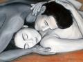 Milenci ručne maľovaný obraz