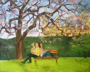 Dvojica v parku - maľovaný obraz