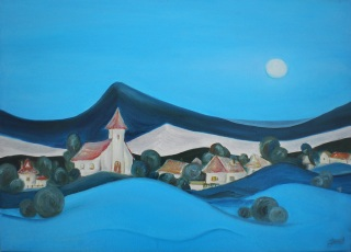Obraz dedinky - olejomaľba