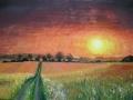 Ručne maľovaný obraz krajiny, obraz prírody