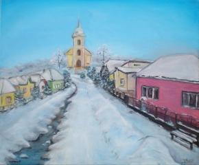 Zimná dedinka - maľovaný obraz