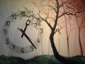 Obraz s hodinami - les
