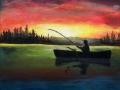 Rybár na člne - olejomaľba obraz