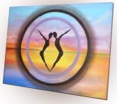 Siluety so západom slnka - abstraktný obraz