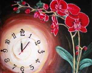 Obraz s hodinami červená orchidea