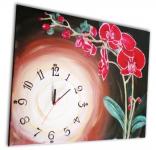 Orchidea červená obraz s hodinami