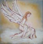 Anjel strážca - maľovaný obraz