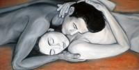 Ručne maľovaný obraz - milenci, zaľúbený pár