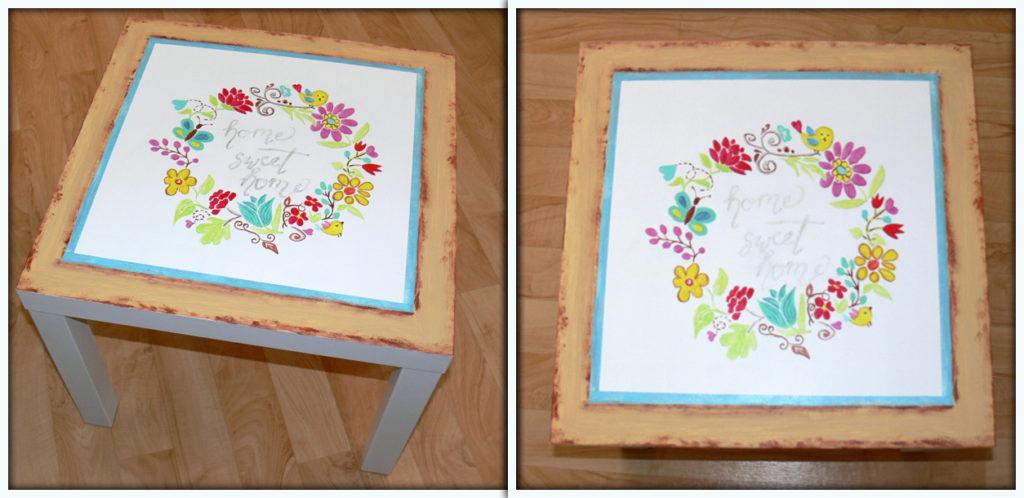postup maľovaný nábytok, stolík