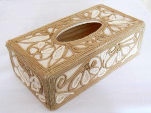 krabička na servítky zdobená lanom
