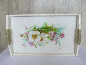 drevená tácka ručne maľovaná