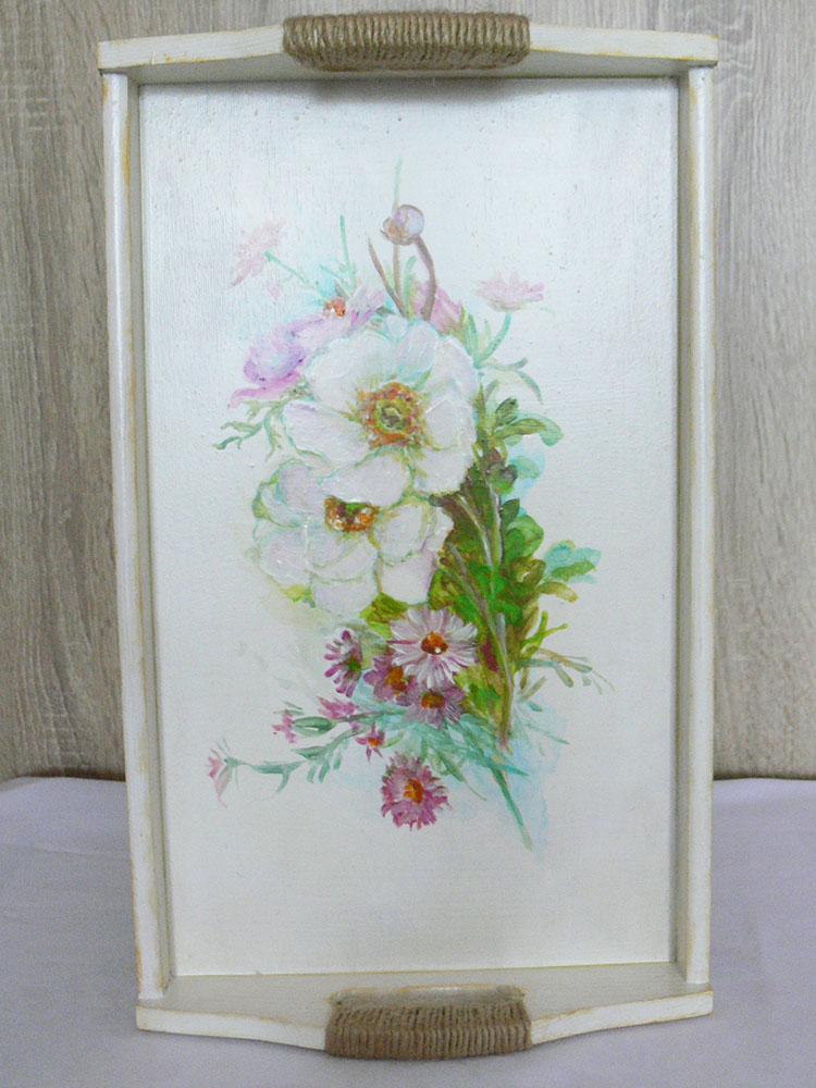 drevený podnos ručne maľovaný